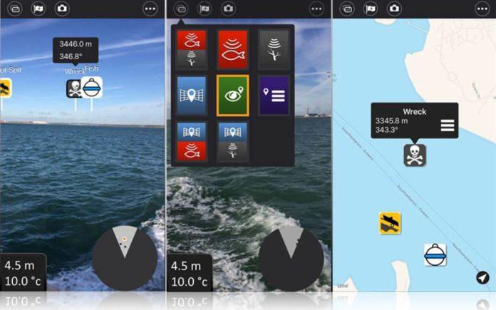 Der neue Ansichtumschalter der Wi-Fish-App (links), Erweiterte-Realität-Ansicht und Kartenansicht (rechts).