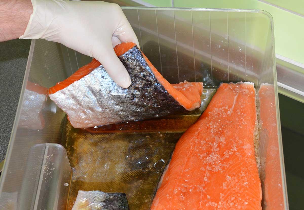 Für ein schön gleichmäßiges Ergebnis wende ich die Filets alle zwölf Stunden und verteile die anfallende Flüssigkeit mit einem Pinsel über den Fisch.