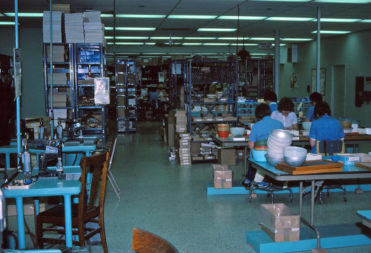 Die Mepps-Produktionsräume in Antigo in den 1980er
