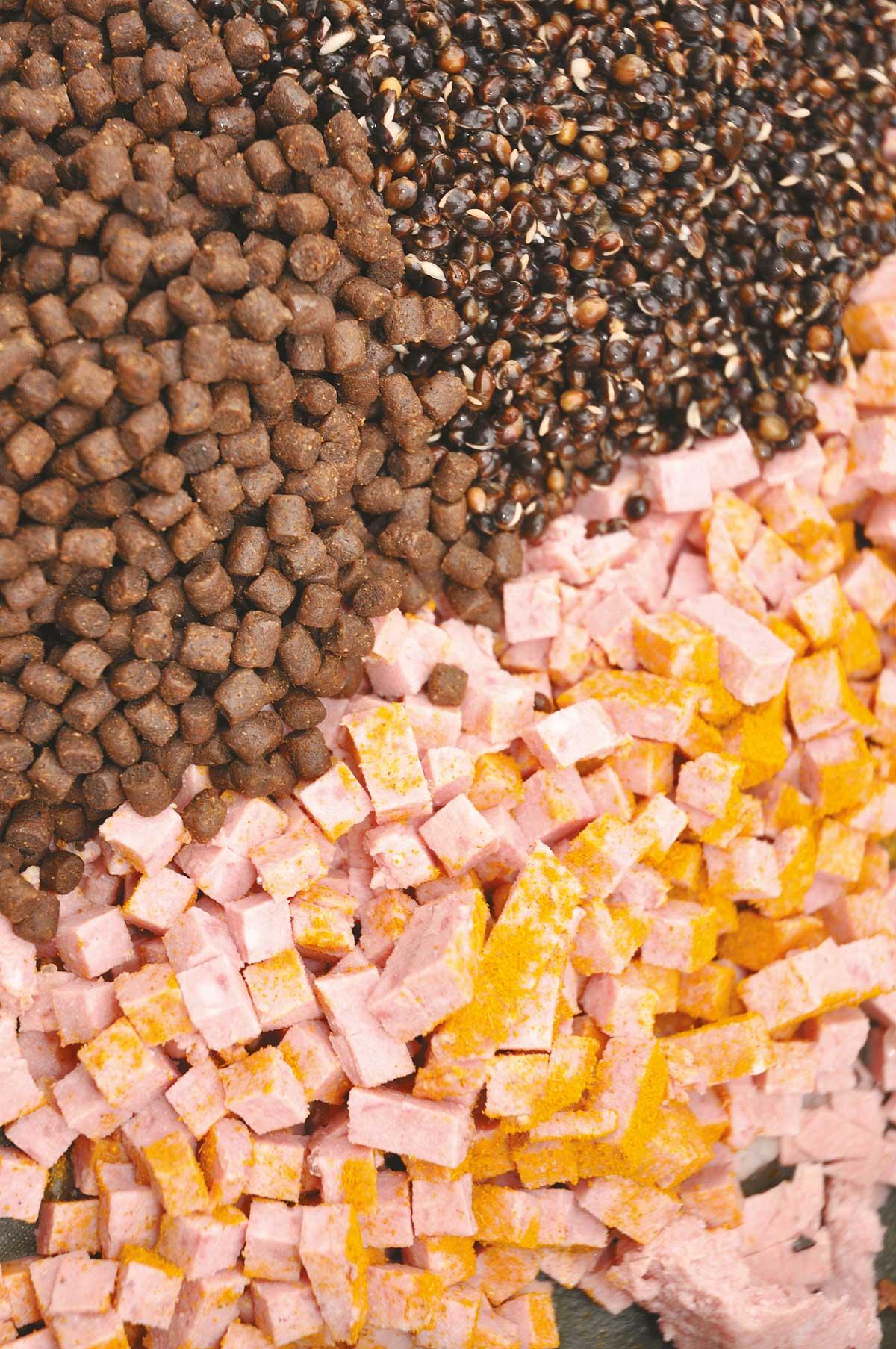 Die Happen werten zusammen mit einigen Partikeln wie Hanf oder Pellets jedes Anfutter auf.