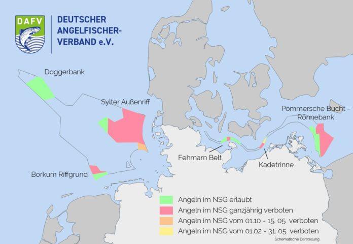 Übersicht der Naturschutzgebiete in der ausschließlichen Wirtschaftszone (AWZ) und der verhängten Angelverbote. Darstellung: DAFV, Malte Frerichs