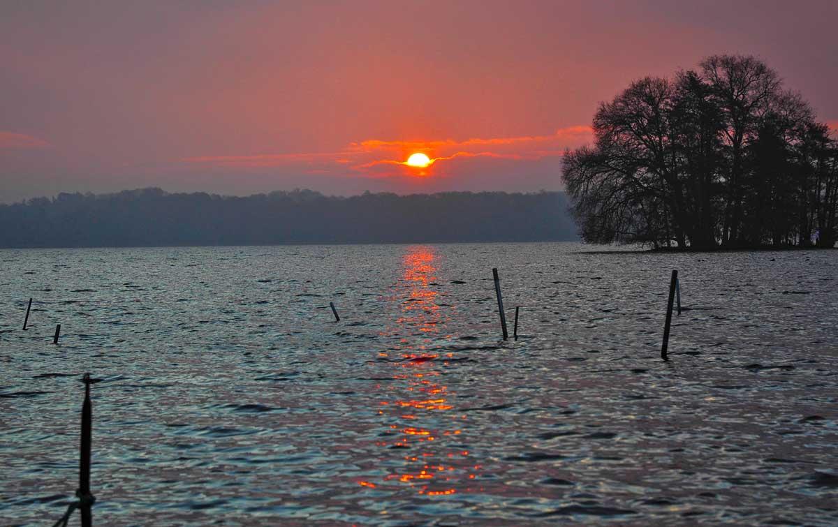 Gleich verschwindet die Sonne am Horizont, die beste Barschbeißzeit ist aber genau jetzt.