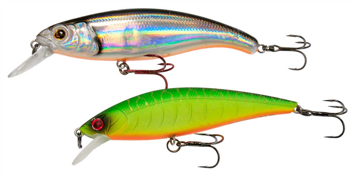 Oben: Fox Rage Slick Stick SR in 10 cm, Farbe Real Baitfish. Unten: Sébile Puncher in 9 cm, Farbe Firetiger.