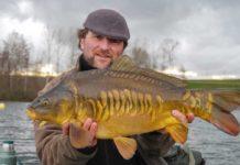Thomas Kalweit mit wunderschönem Zeilkarpfen. Trotz Winterkälte biss der Fisch in einer flachen Badebucht auf einen Mini-Boilie.