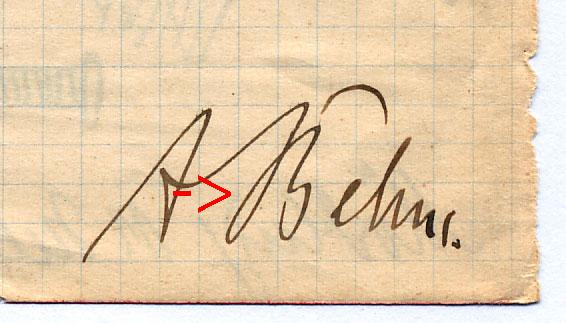 Das gleiche B in Behms Unterschrift.
