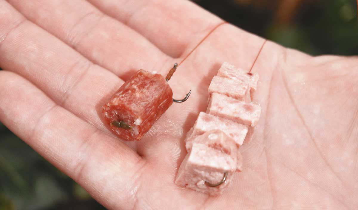 Ein Stück Bifi (l.) fliegt auch in der stärksten Strömung nicht vom Haken. Geheimtipp: eine Kette aus Frühstücksfleisch.