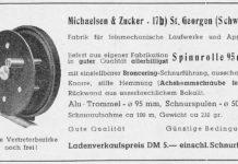 """Aus """"Die Fischwaid"""", Mai 1949: Die """"Spinnrolle"""" von Michaelsen & Zucker aus St. Georgen im Schwarzwald."""