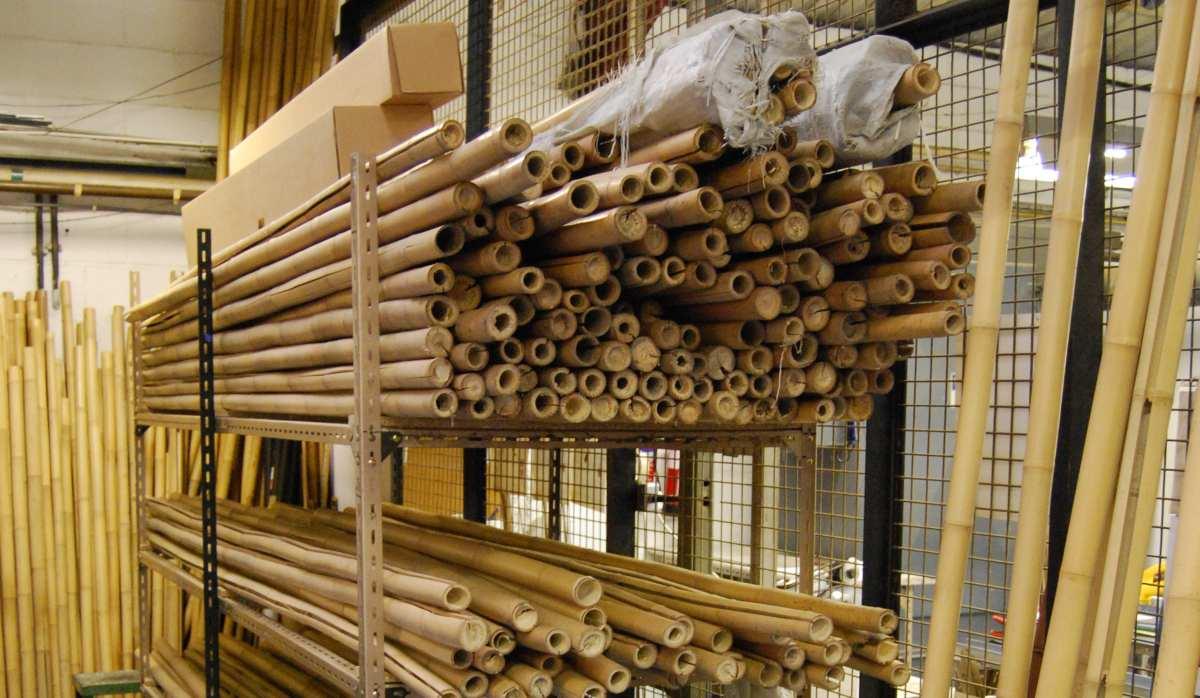 Das Bambuslager für die Gespließten-Produktion.