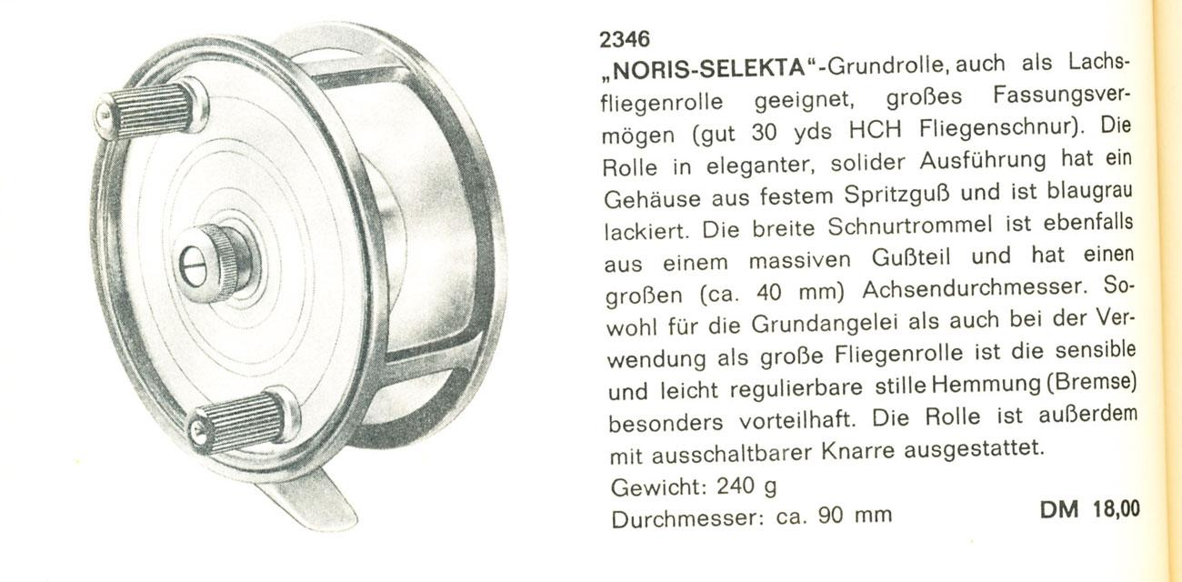 """Das Noris-Spitzenmodell, die """"Selekta"""", taucht noch im Noris-Shakespeare-Katalog von 1963 auf. Mit """"geschlossenem Gehäuse"""" meinte Noris wohl """"ungelochte Spule""""."""