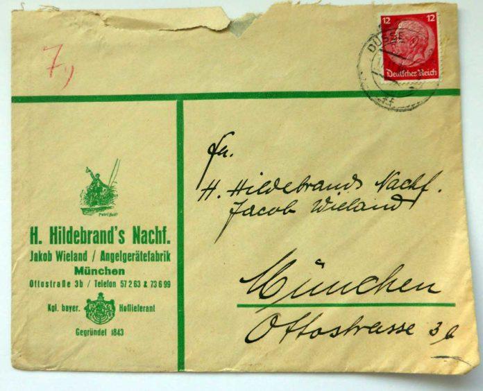 Post von Hildebrand an Hildebrand. Offenbar hat Jakob Wieland mit einem Geschäftsumschlag Post von unterwegs nach München geschickt.