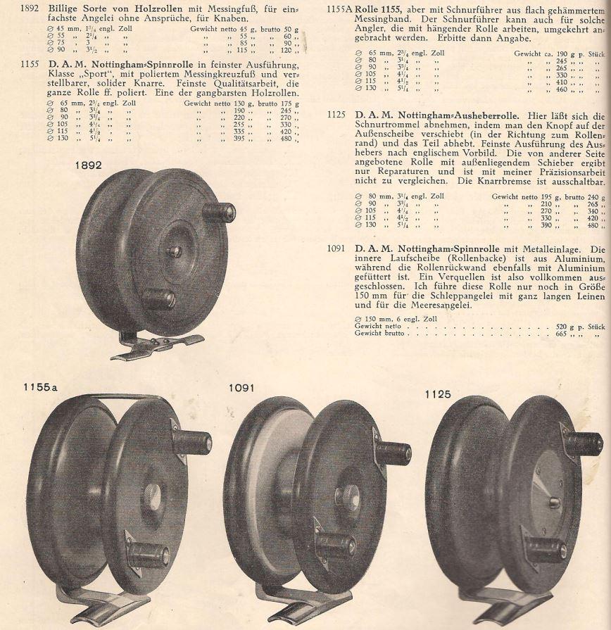 Die letzten DAM-Holzrollen aus dem Katalog von 1933. Typisches Erkennungszeichen sind die spitz-rautenförmigen Unterlegplatten der Griffe.