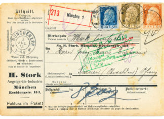 Paketkarte der Münchner Angelgerätefirma Stork aus dem Jahr 1912, bestückt mit damals noch bayerischen Briefmarken.