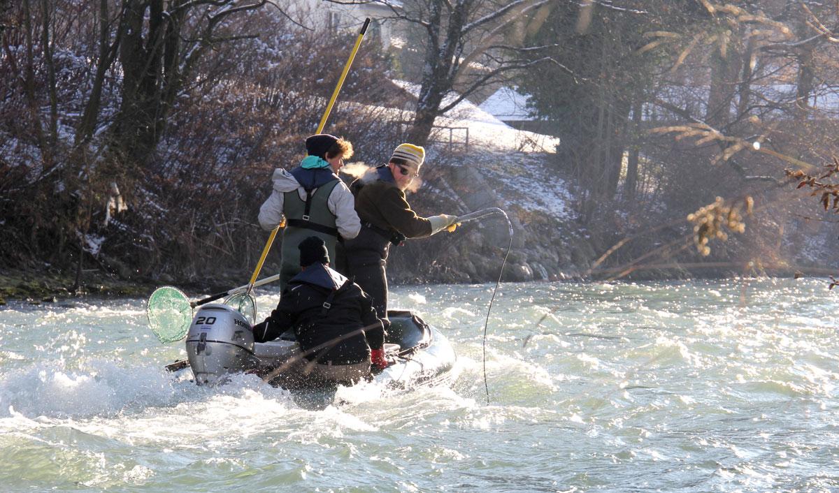 Elektrobefischung in der tosenden Tiroler Ache. Bild: IFB/LFV Bayern