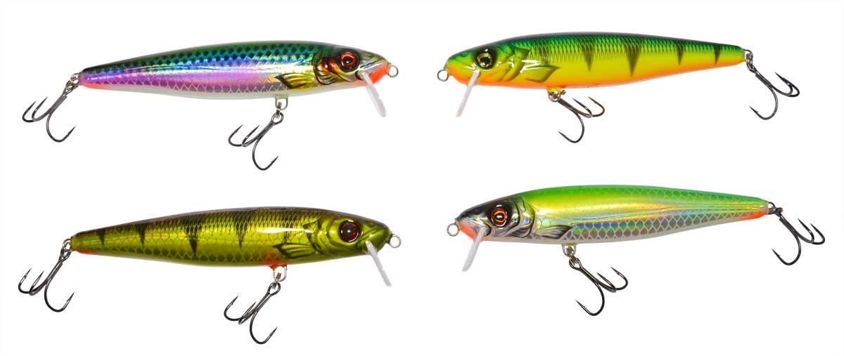 Die vier Farbtöne des Hechtkaisers unter Normallicht (oben links: Hering/Weißfisch, unten links: Motoroil, oben rechts: Firetiger, unten rechts: Boddensau).