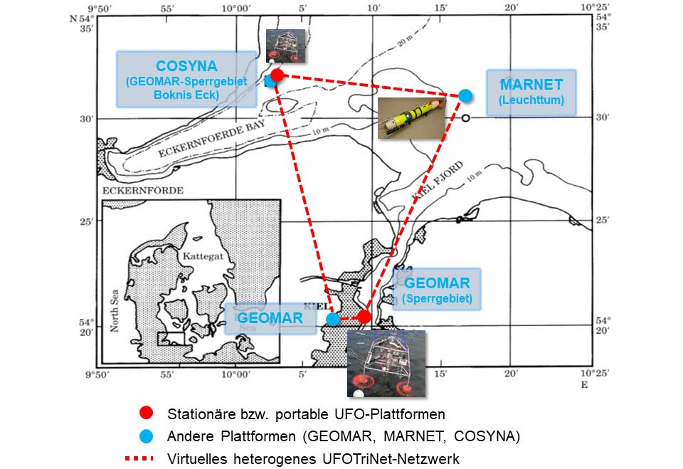 Kieler Förde und Eckernförder Bucht mit dem eingezeichneten Test- und Operationsdreieck der UFO-Einheiten. Bild: Joachim Gröger/Thünen-Institut