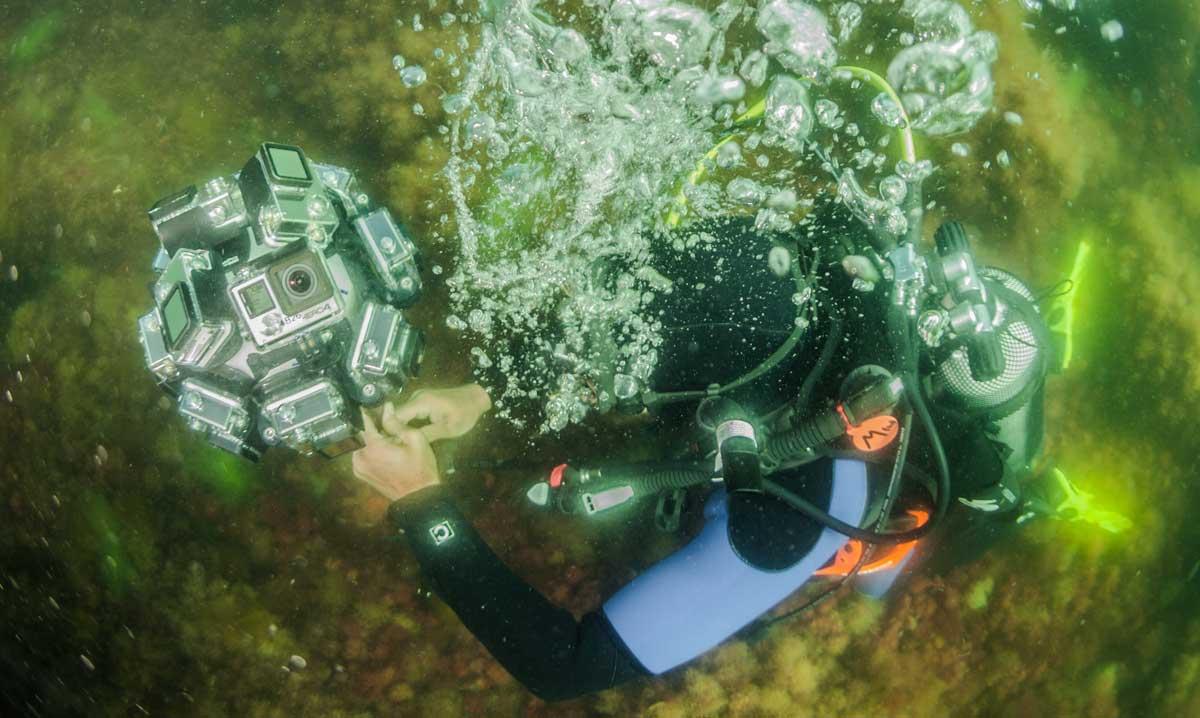 Aufwändige Filmtechnik ist für 360-Grad-Unterwasseraufnahmen erforderlich. Foto: Kubikfoto