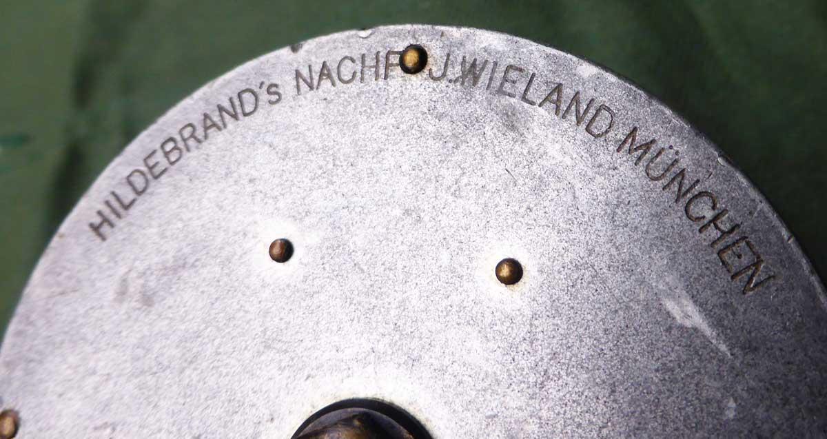 Hildebrand Wieland Fliegenrolle aus München.