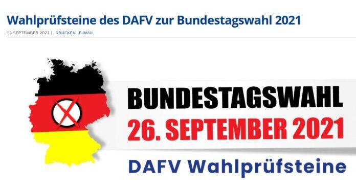 Screenshot der DAFV-Webseite